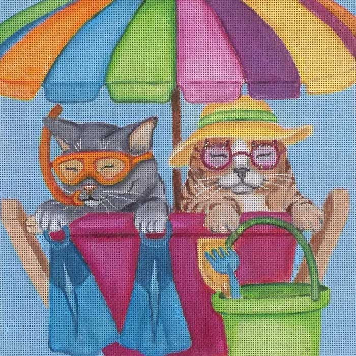 click here to view larger image of Beach Cats (hand painted canvases)