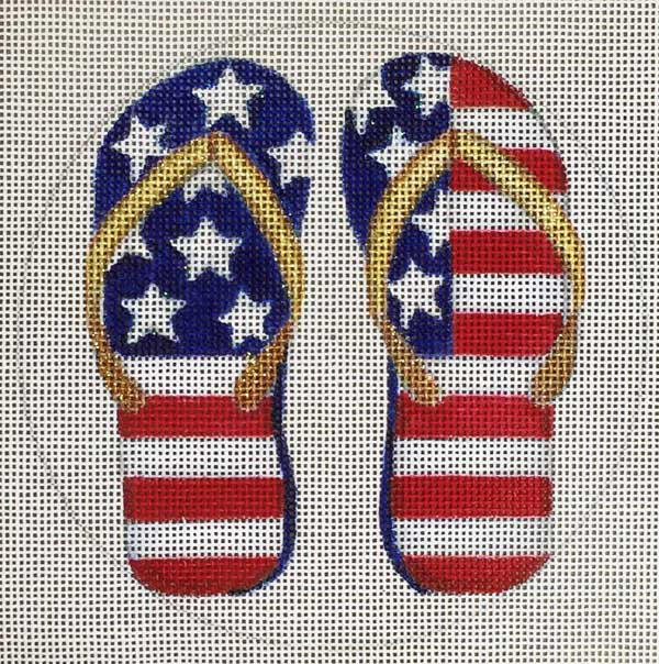 click here to view larger image of Flag Flipflops Ornament (hand painted canvases)