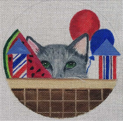 click here to view larger image of 4th Of July Kitty Basket (hand painted canvases)