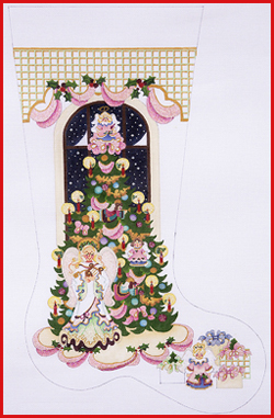 click here to view larger image of Angel Tree With Angel Standing Stocking - 13ct (hand painted canvases)