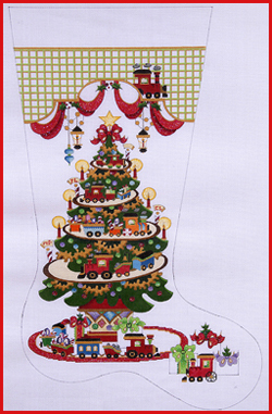 click here to view larger image of Transportation Tree - Trains On Tracks Stocking - 13ct (hand painted canvases)