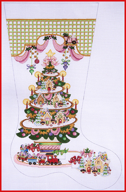 click here to view larger image of Gingerbread Village Tree Stocking - 18ct (hand painted canvases)