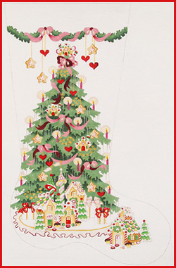 click here to view larger image of Gingerbread Tree With Pink Ribbons Stocking - 18ct (hand painted canvases)
