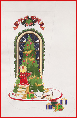click here to view larger image of Girl Putting Lights On Tree Stocking (hand painted canvases)