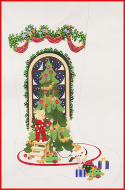click here to view larger image of Boy Putting Lights On Tree Stocking - 18ct (hand painted canvases)