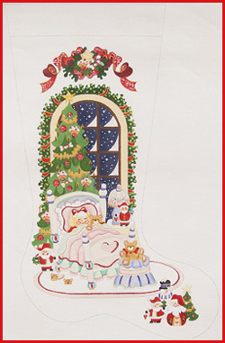 click here to view larger image of Girl In Bed With Bear Stocking (hand painted canvases)