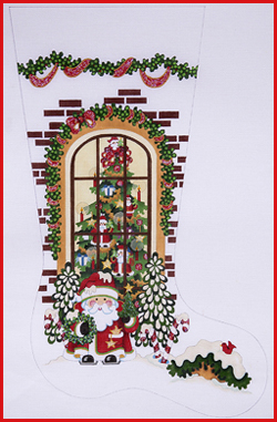 click here to view larger image of Santa Outside Of Window Stocking - 18ct (hand painted canvases)