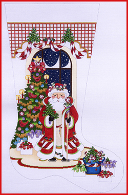 click here to view larger image of Candy Cane Santa With Tree Stocking - 13ct (hand painted canvases)