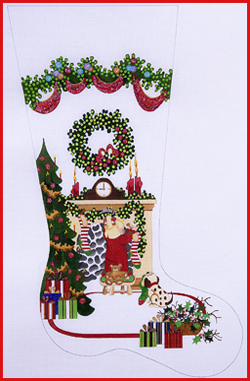 click here to view larger image of Girl Hanging Stocking On Fireplace with Tree and Heavy Garland Topper Stocking - 18ct (hand painted canvases)