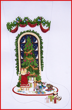 click here to view larger image of Girl Hanging Ornament On Tree With Heavy Garland Topper Stocking - 13ct (hand painted canvases)
