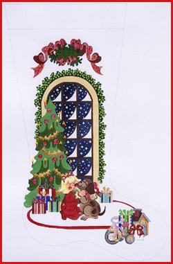 click here to view larger image of Best Gift - Girl With Dog In Front Of Tree Stocking - 18ct - Ribbon Topper (hand painted canvases)