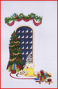 click here to view larger image of Girl Watching For Santa With Dog Stocking - Heavy Garland Topper - 13ct (hand painted canvases)
