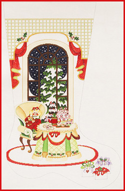 click here to view larger image of Girl In Chair With Dessert Table Stocking - 18ct (hand painted canvases)