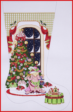 click here to view larger image of Girl Dressed In Mom's Clothes Waiting For Santa Stocking - 18ct (hand painted canvases)