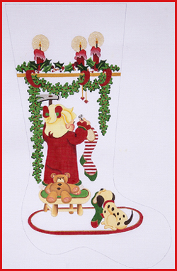 click here to view larger image of Girl On Stool Hanging Stockings With Bear and Candles Stocking - 13ct (hand painted canvases)