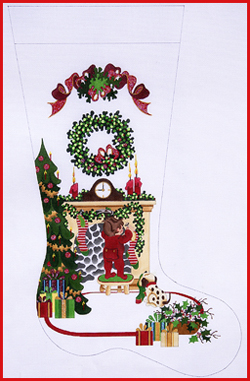 click here to view larger image of Boy Hanging Stocking On Fireplace with Tree and Ribbon Topper Stocking - 18ct (hand painted canvases)