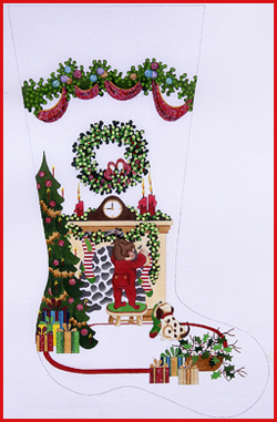 click here to view larger image of Boy Hanging Stocking On Fireplace with Tree and Heavy Garland Topper Stocking - 13ct (hand painted canvases)