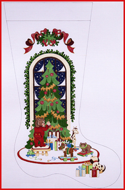 click here to view larger image of Boy Hanging Ornament On Tree With Animals On Rollers Stocking - Ribbon Topper - 18ct (hand painted canvases)