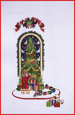 click here to view larger image of Boy Hanging Ornament On Tree With Train Around Tree Stocking - Ribbon Topper - 13ct (hand painted canvases)