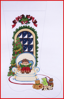 click here to view larger image of Boy Reading To Stuffed Bears Stocking - Ribbon Topper - 13ct (hand painted canvases)