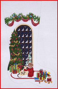 click here to view larger image of Boy Watching For Santa With Dog Stocking - Heavy Garland Topper - 13ct (hand painted canvases)