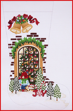 click here to view larger image of Boy Outside Looking at Tree In Window Stocking - 13ct (hand painted canvases)