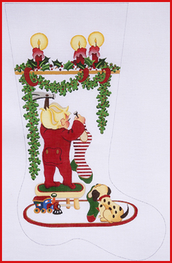 click here to view larger image of Boy On Stool Hanging Stockings With Train and Candles Stocking - 13ct (hand painted canvases)