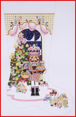 click here to view larger image of Large Pastry Nutcracker In Front Of A Decorated Tree Stocking - 18ct (hand painted canvases)