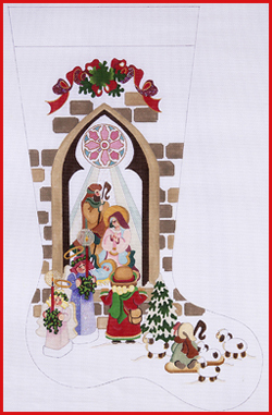 click here to view larger image of Girl At Nativity Window With Angels, Shepherd, and Lamb Stocking - 18ct (hand painted canvases)