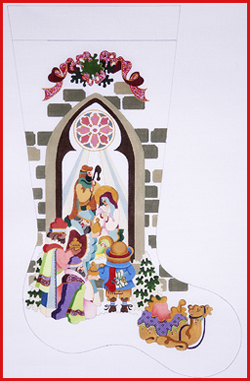 click here to view larger image of Boy At Nativity Window With Wisemen and Camel Stocking - 13ct (hand painted canvases)