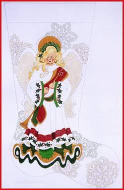 click here to view larger image of Blond Christmas Angel With Snowflakes And Trumpet Stocking - 18ct (hand painted canvases)