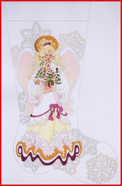 click here to view larger image of Blond Angel With Yellow Dress Holding A Gingerbread House Stocking - 18ct (hand painted canvases)