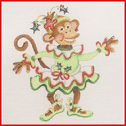 click here to view larger image of Dancing Monkey In Green Christmas Tutu Ornament (hand painted canvases)