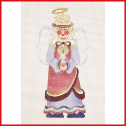 click here to view larger image of Angel Dressed In Blue And Magenta Holding A Candle Ornament (hand painted canvases)