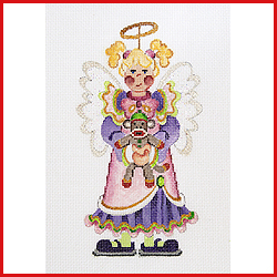 click here to view larger image of Girl Angel Holding A Sock Monkey Ornament (hand painted canvases)