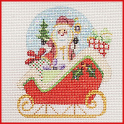 click here to view larger image of Sleigh With Santa Snowglobe Ornament (hand painted canvases)