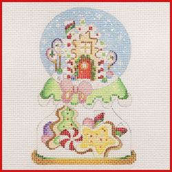 click here to view larger image of Candy House Snowglobe Ornament (hand painted canvases)