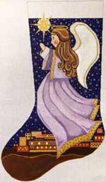 click here to view larger image of Angel Of Bethlehem Stocking (hand painted canvases)