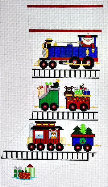 click here to view larger image of Choo Choo Stocking With Santa And Toys (hand painted canvases)