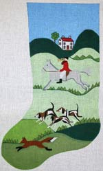 click here to view larger image of English Hunt Scene Stocking (hand painted canvases)