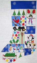 click here to view larger image of Christmas Patchwork With Penguins Stocking (hand painted canvases)