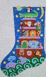 click here to view larger image of Christmas Ark Stocking (hand painted canvases)