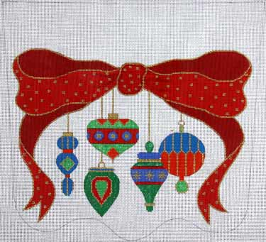 click here to view larger image of Bow And Antique Ornaments Stocking Cuff - Red and Green (hand painted canvases)