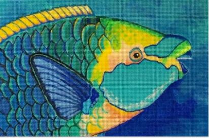 click here to view larger image of Green Throated Parrotfish (hand painted canvases)