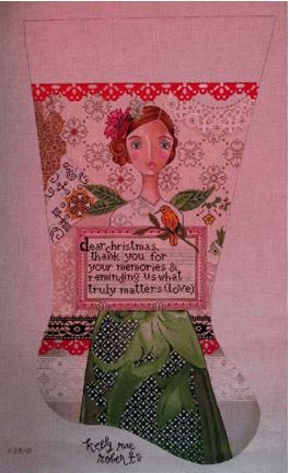click here to view larger image of Dear Christmas Stocking (hand painted canvases)