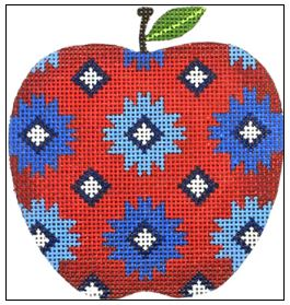 click here to view larger image of Quilt Apple (hand painted canvases)