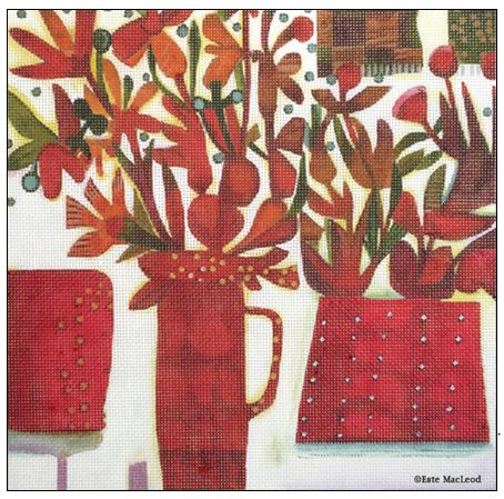 click here to view larger image of 3 Red Pots (hand painted canvases)