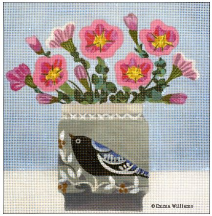 click here to view larger image of Bird Vase (hand painted canvases)