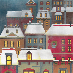click here to view larger image of Christmas Eve Town Pillow (hand painted canvases)