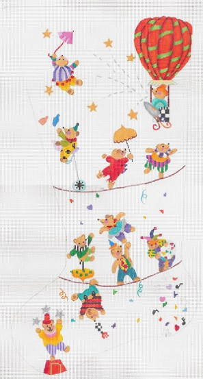 click here to view larger image of Teddys Holiday Circus Stocking - 13ct (hand painted canvases)